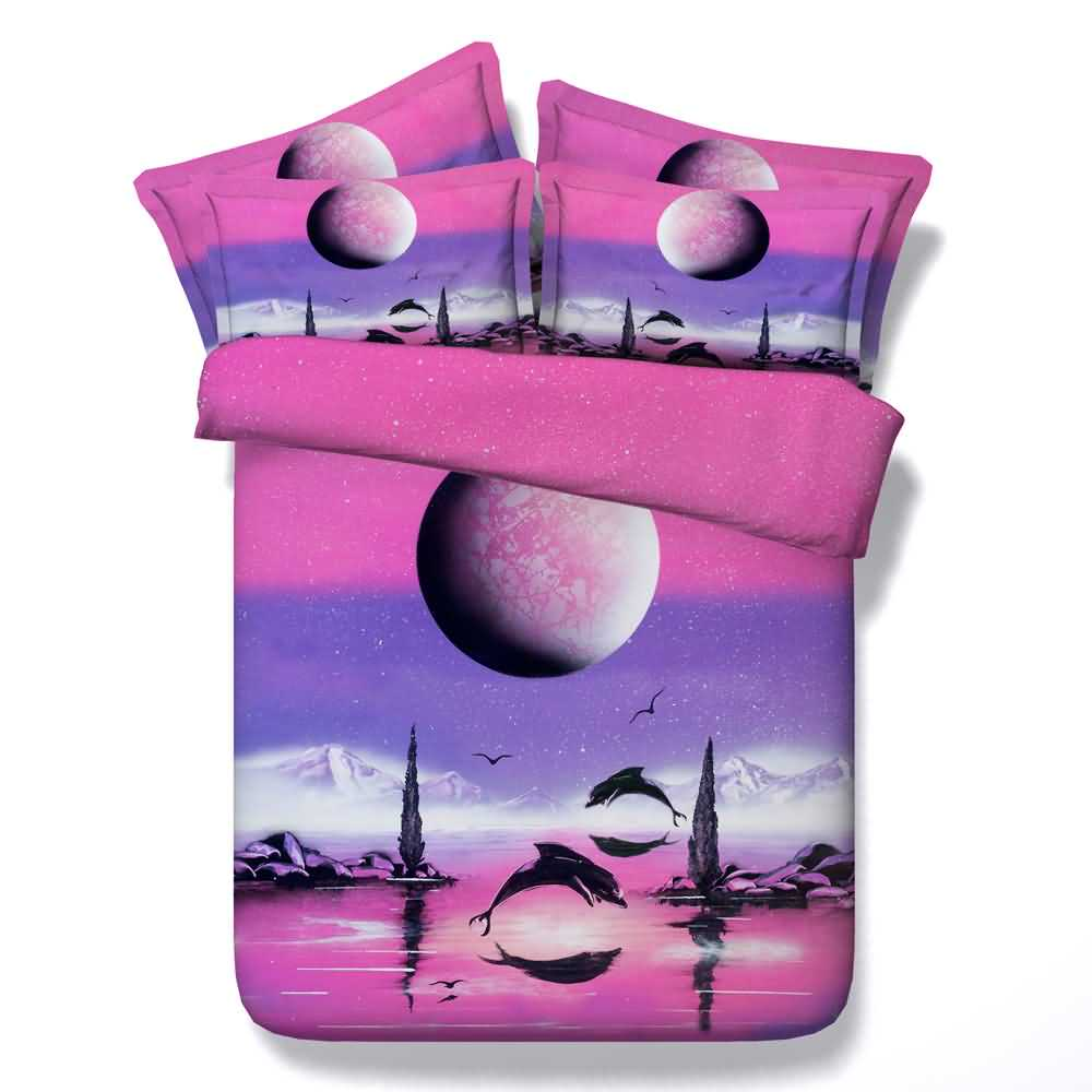 Dolphin and Rising Moon Printed 4-Piece Pink 3D Bedding Sets/Duvet Covers