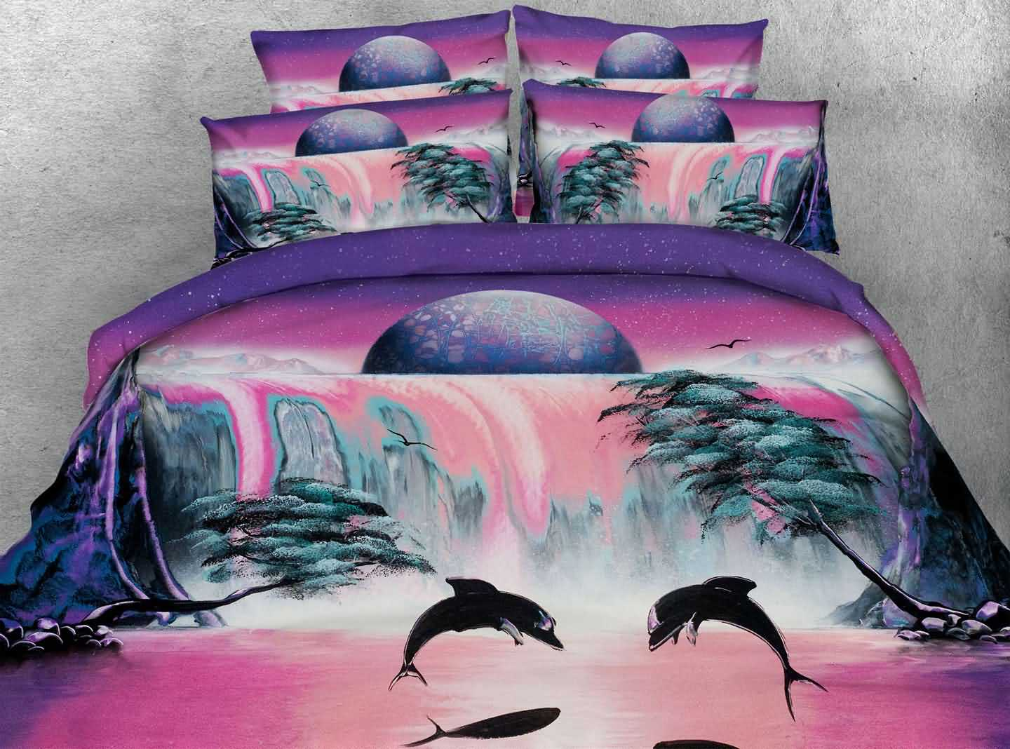 3D Dolphin and Waterfall Scenery Printed 4-Piece Bedding Sets/Duvet Covers