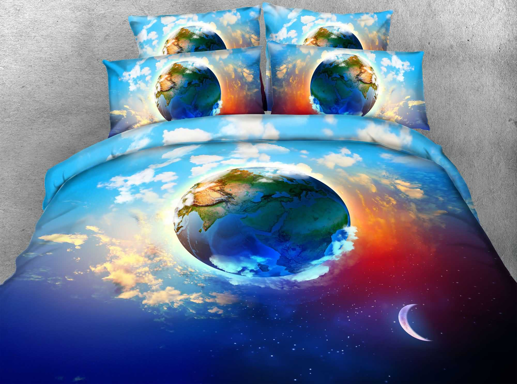 White Clouds and the Earth Printed 4-Piece 3D Bedding Sets/Duvet Covers