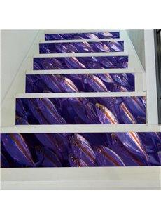 3D Purple Fishes 6-Piece PVC Waterproof Eco-friendly Self-Adhesive Stair Mural