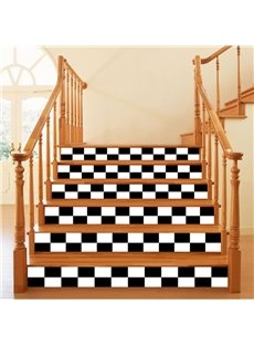 3D White and Black Plaids 6-Piece PVC Waterproof Eco-friendly Self-Adhesive Stair Mural