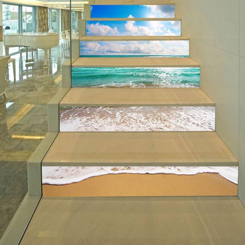 3D Beach 6-Piece PVC Waterproof Eco-friendly Self-Adhesive Stair Mural