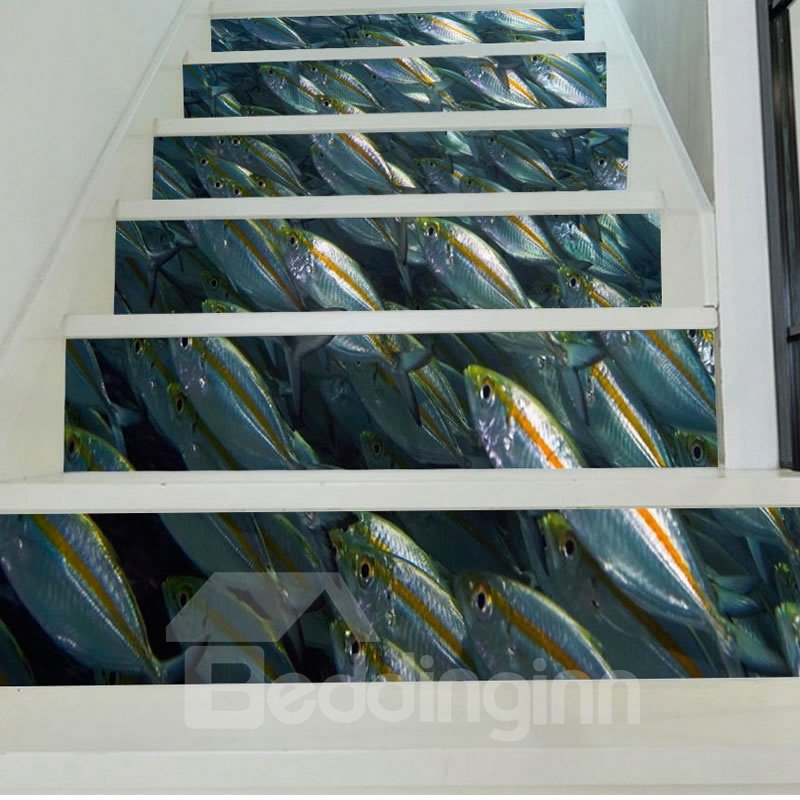 3D Gray Fishes Printed 6-Piece PVC Waterproof Eco-friendly Self-Adhesive Stair Mural