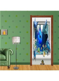 30×79in Fishes Dolphins PVC Environmental Waterproof Self-Adhesive 3D Door Mural