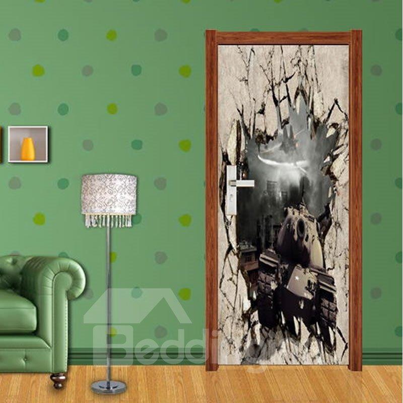 30×79in Explosive Wall Remains PVC Environmental Waterproof Self-Adhesive 3D Door Mural
