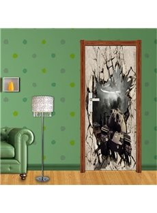 30×79in Explosive Wall Remains PVC Environmental Waterproof Self-Adhesive 3D Door Mural