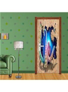 30×79in Octopus PVC Environmental Waterproof Self-Adhesive 3D Door Mural