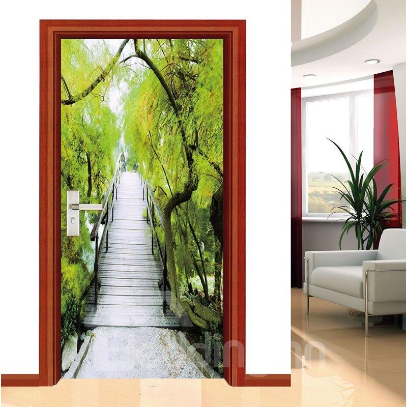 30×79in Wooden Bridge Trees PVC Environmental Waterproof Self-Adhesive 3D Door Mural
