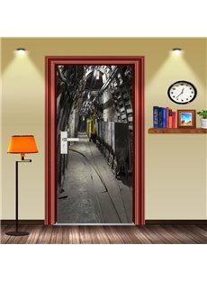 30×79in Gray Mechanical House PVC Environmental Waterproof Self-Adhesive 3D Door Mural