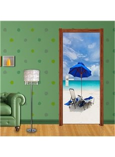 30×79in Beach PVC Environmental Waterproof Self-Adhesive 3D Door Mural