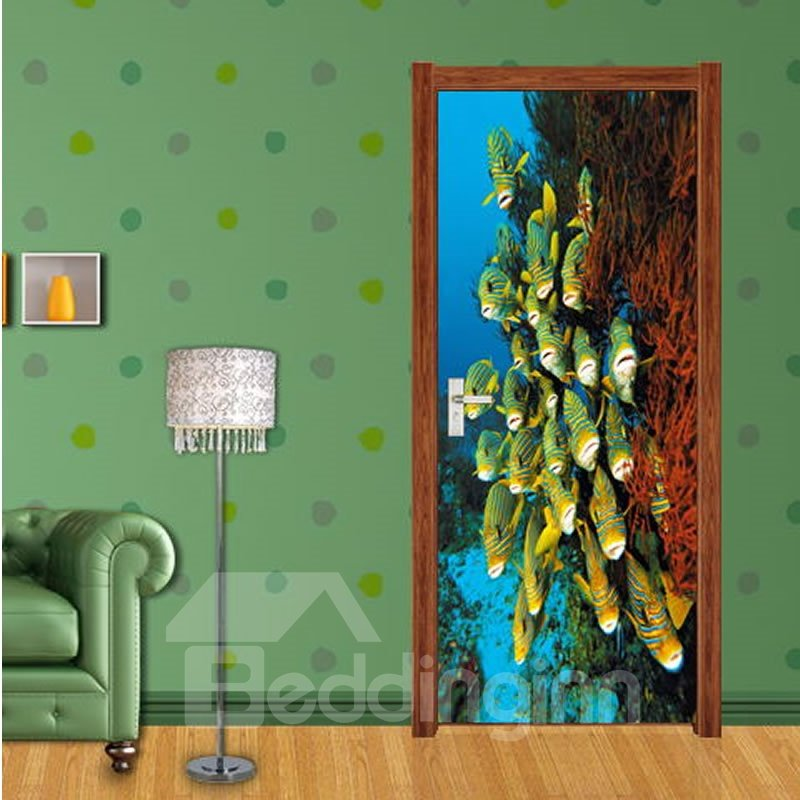30×79in Fishes in Deep Sea PVC Environmental Waterproof Self-Adhesive 3D Door Mural