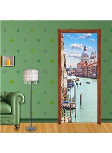 30×79in Buildings in Water PVC Environmental Waterproof Self-Adhesive 3D Door Mural