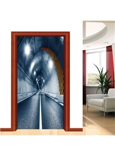 30×79in Tunnel PVC Environmental and Waterproof Self-Adhesive 3D Door Mural