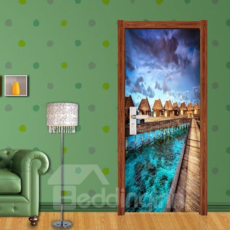 30×79in Lake Surrounding Architechtures PVC Environmental and Waterproof 3D Door Mural