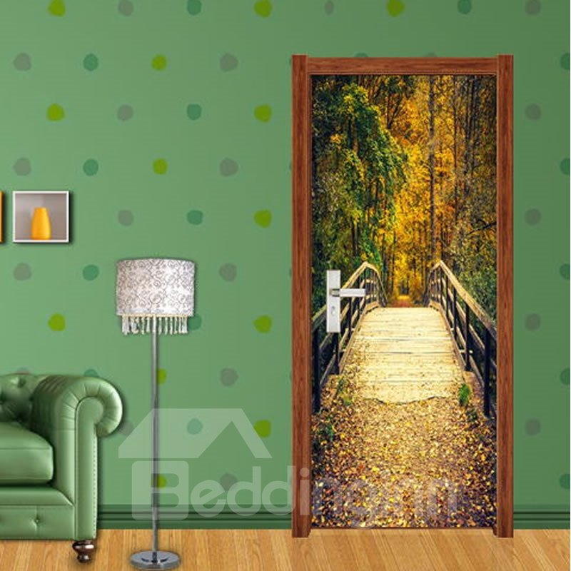 30×79in Wooden Bridge in Forest PVC Environmental and Waterproof 3D Door Mural
