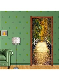 30×79in Wooden Bridge in Forest PVC Environmental and Waterproof 3D Door Mural
