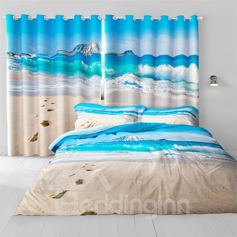 3D Rolling Seas and Beach Printed Beautiful Natural Beauty 2 Panels Decorative and Blackout Curtain