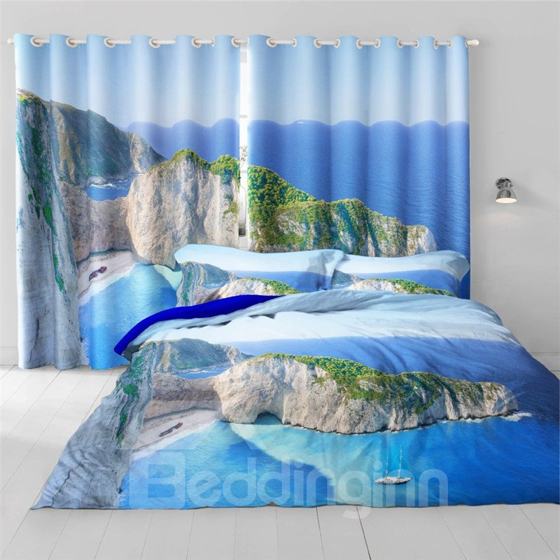 3D Rolling Mountains Printed Thick Polyester 2 Panels Decorative and Blackout Grommet Top Curtain