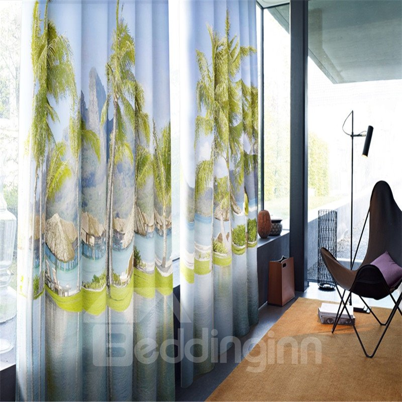 3D Wooden Pavilions and Peaceful Lake with Green Palm Trees Printed Blackout Grommet Top Curtain