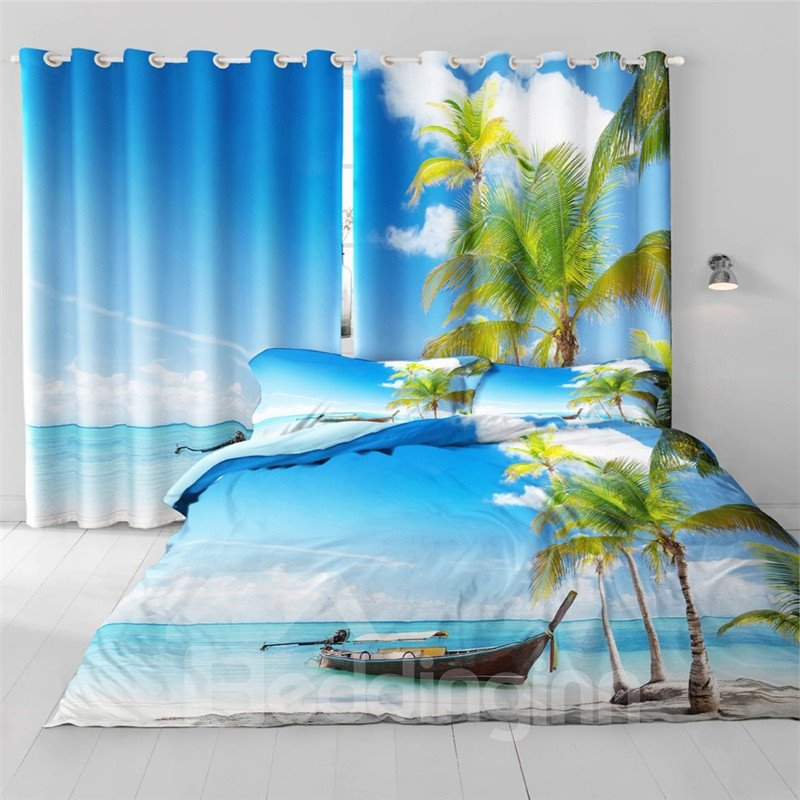 3D Blue Sea and Boat Printed Thick Polyester Decorative and Heat Insulation Grommet Top Curtain