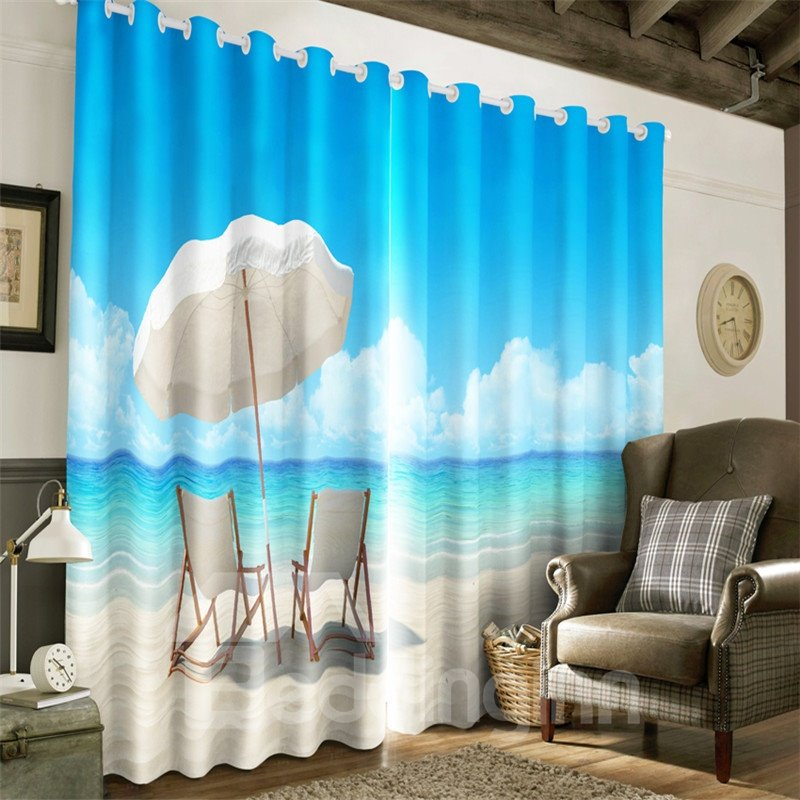 3D Leisure Chairs and Blue Seas Printed Beach Scenery 2 Panels Grommet Top Curtain