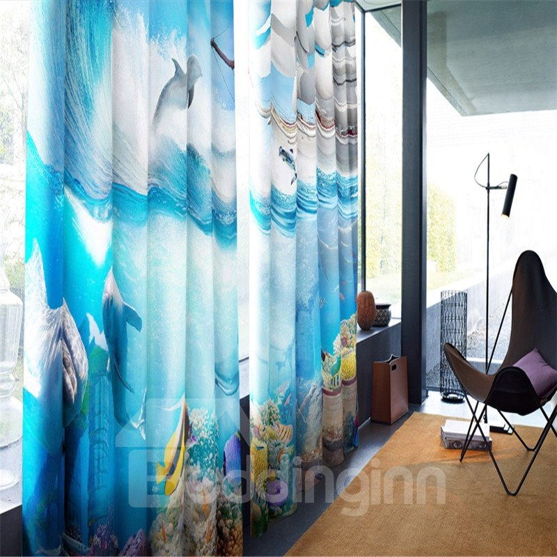 3D Blue Seas Golden Fish Turtle and Dolphins Printed Wonderful Undersea World Blackout Curtain