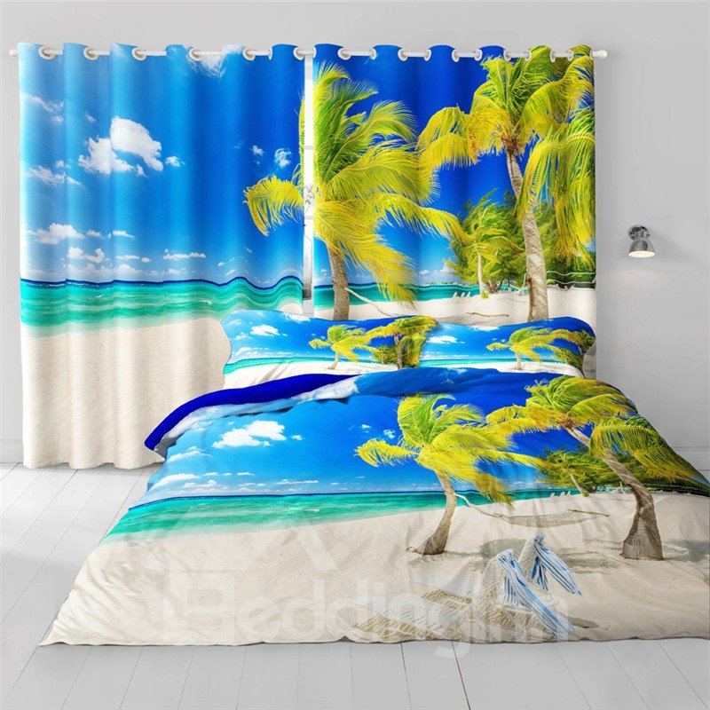 Beautiful Green Palm Trees and Blue Sea Printed Beach Scenery 2 Panels Grommet Top Curtain