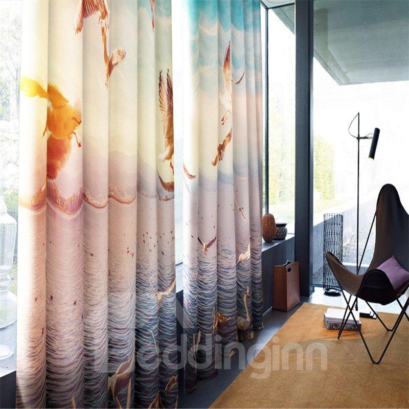 3D Flying Seagulls and Waving Seas Printed 2 Panels Living Room and Bedroom Grommet Top