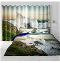 3D Surging Waves and and Green Mountains Natural Power Printed Grommet Top Curtain
