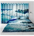 3D Rolling Seas and Blue Sky Printed 2 Panels Decorative and Light Insulation Curtain