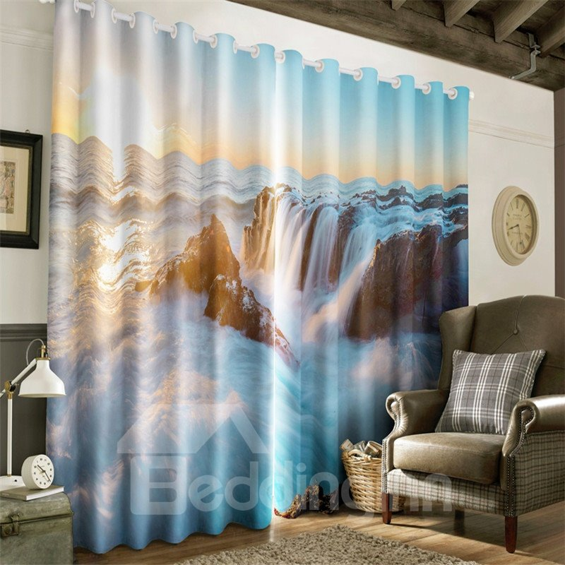 3D Rough Waterfalls and High Mountains Printed Decorative and Heat Insulation Curtain
