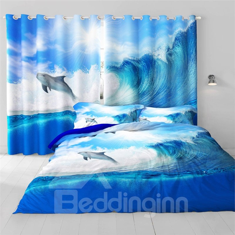 3D Dancing Dolphin and Choppy Seas Printed Decorative and Heat Insulation Window Curtain