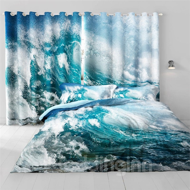 3D Huge Waves Limpid Seas Printed 2 Panels Decorative and Heat Insulation Living Room Curtain