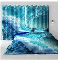 3D Blue Seas and Rolling Waves Printed Natural Beauty Living Room and Bedroom Curtain