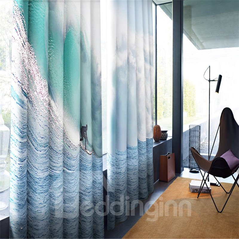 3D Surfing Man in the Rough Seas Printed Decorative and Light Insulation Window Curtain