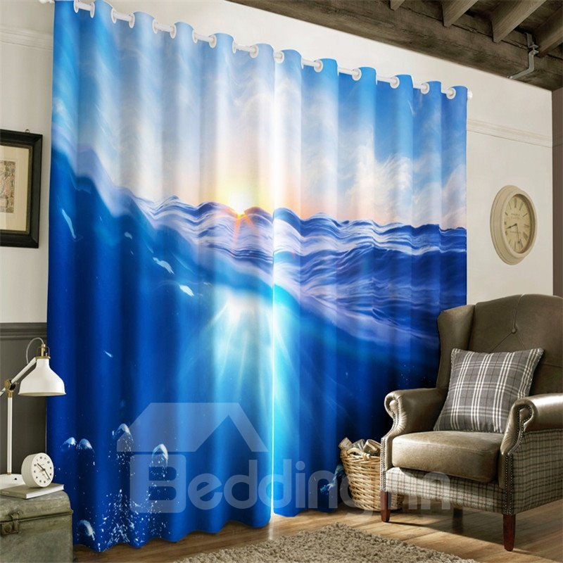 3D Bright Sunlight and Blue Seas Printed Modern and Natural Grommet Top Curtain