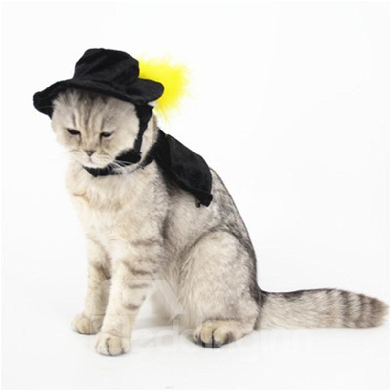Black Cape Cat Dog for Halloween Costume Cosplay