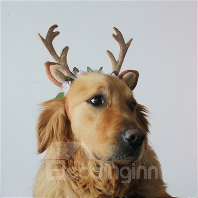 Dog Headband Costume with Flowers Holiday Christmas Reindeer Antlers Ears Wearable