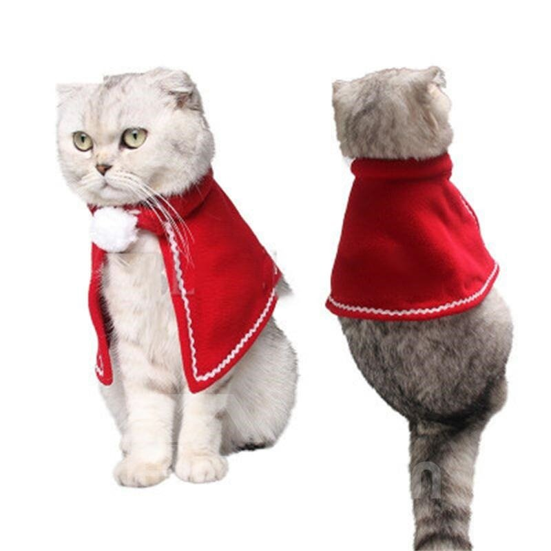 Christmas Pet Costumes.Christmas Pet Costumes Red Velvet Cloak For Small Dogs And Cats