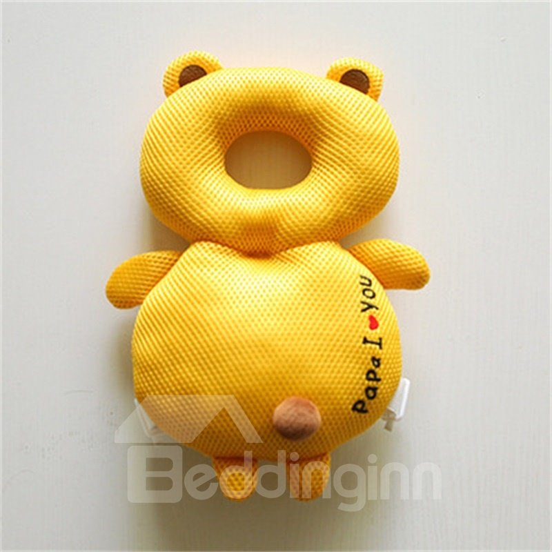 Bear Buckle Polyester and PP Cotton 1-Piece Yellow Anti-Tumbling Toddlers Pillow