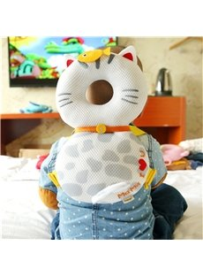 Cat Pattern Buckle Polyester and PP Cotton 1-Piece White Anti-Tumbling Toddlers Pillow