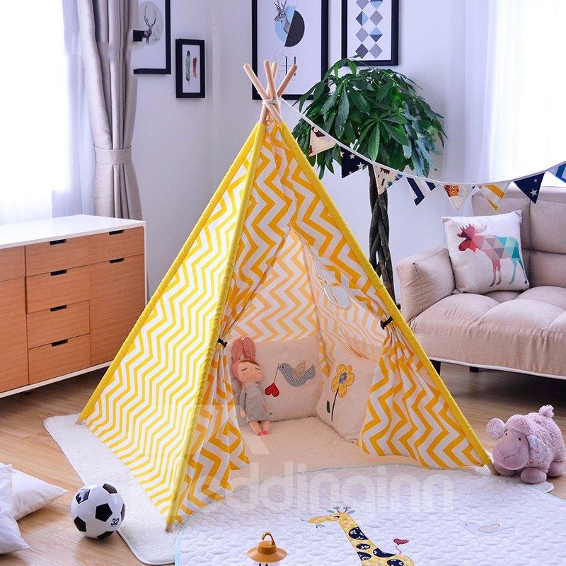 Nordic Style Canvas Yellow Kids Room Indoor Tent