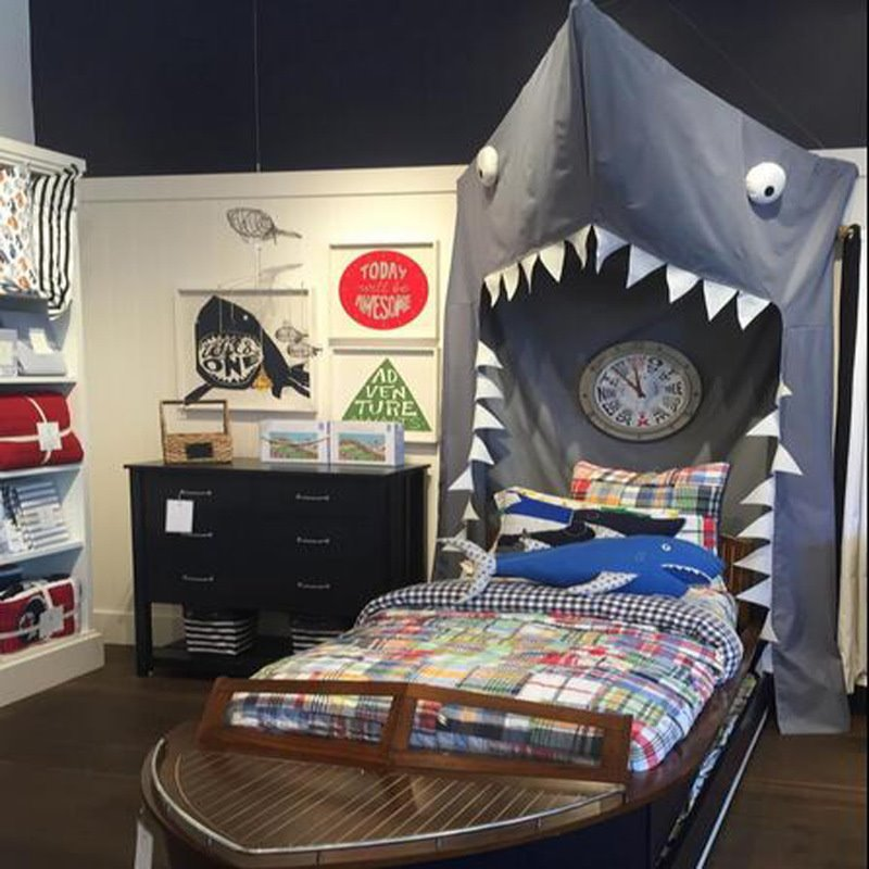 Mouth Opened Shark Shaped Cotton Gray Indoor Canopy