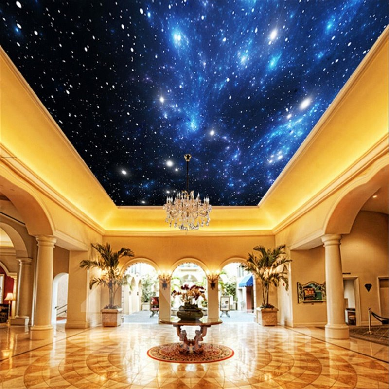 3D Bright Galaxy Printed Waterproof Durable and Eco-friendly Self-Adhesive Ceiling Murals