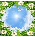 3D Flowers Surrounding Sky Waterproof Durable and Eco-friendly Ceiling Murals