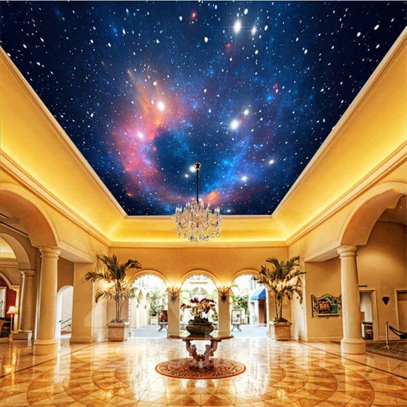 3D Galaxy Printed Waterproof Durable and Eco-friendly Self-Adhesive Ceiling Murals