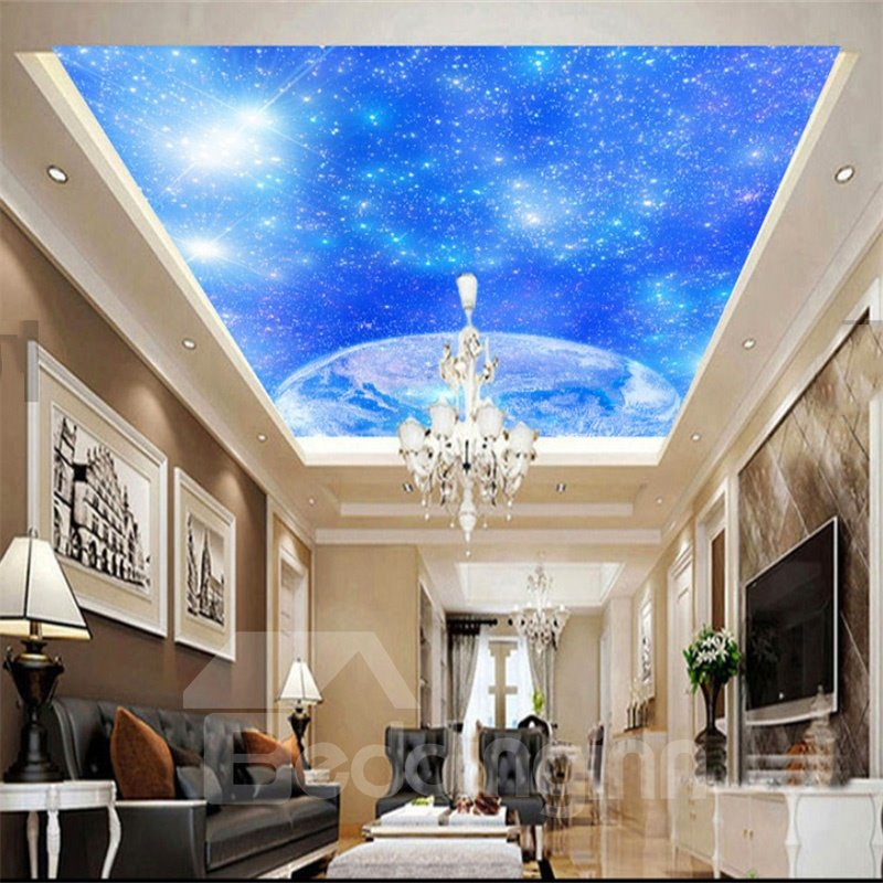 3D Blue Shining Sky Printed Waterproof Durable and Eco-friendly Ceiling Murals