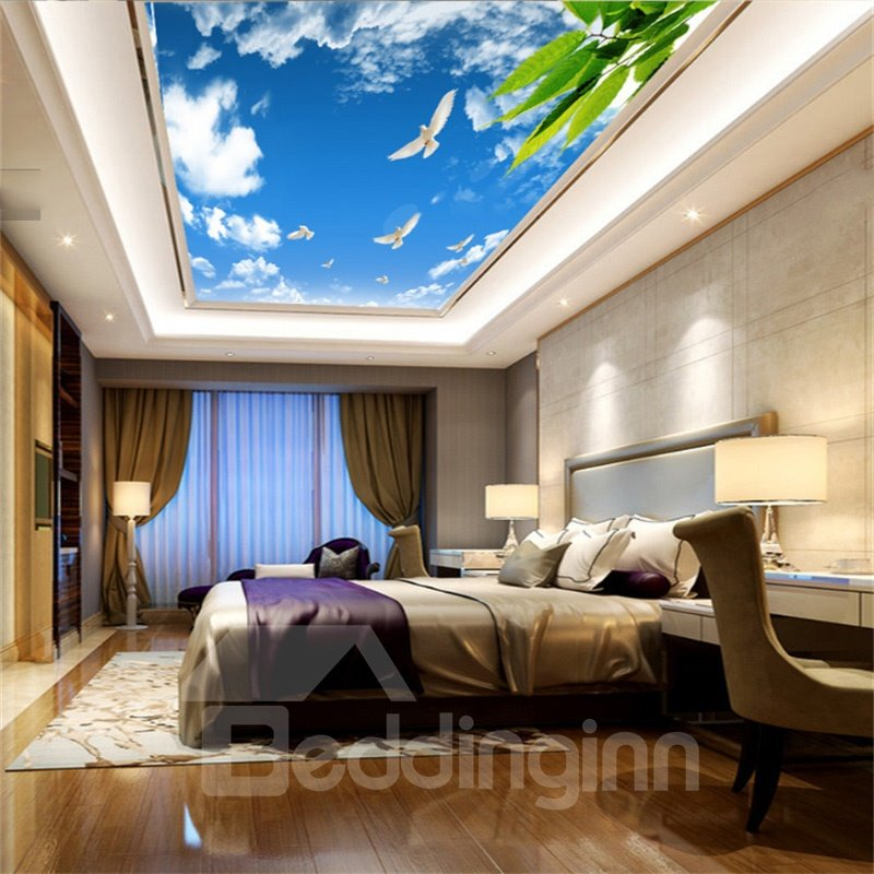 3D White Doves Flying in Sky PVC Waterproof Sturdy Eco-friendly Self-Adhesive Ceiling Murals