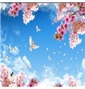 3D Pink Flowers Doves in Blue Sky Waterproof Sturdy Eco-friendly Self-Adhesive Ceiling Murals