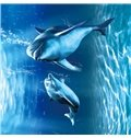 3D Dolphins in Blue Sea Printed PVC Waterproof Durable and Eco-friendly Ceiling Murals